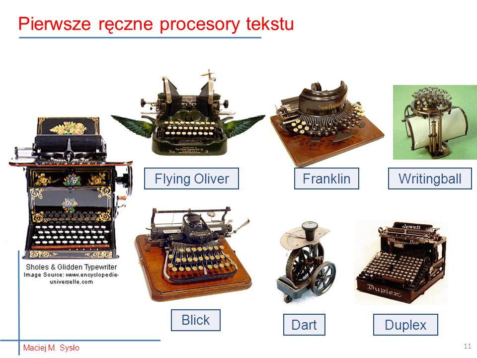 Flying OliverFranklin Blick DuplexDart Writingball 11 Pierwsze ręczne procesory tekstu Maciej M.