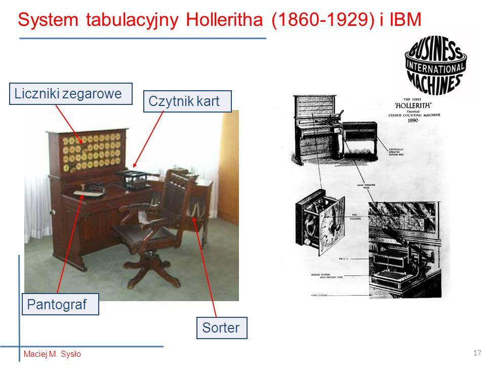System tabulacyjny Holleritha (1860-1929) i IBM Pantograf Sorter Liczniki zegarowe Czytnik kart 17 Maciej M.