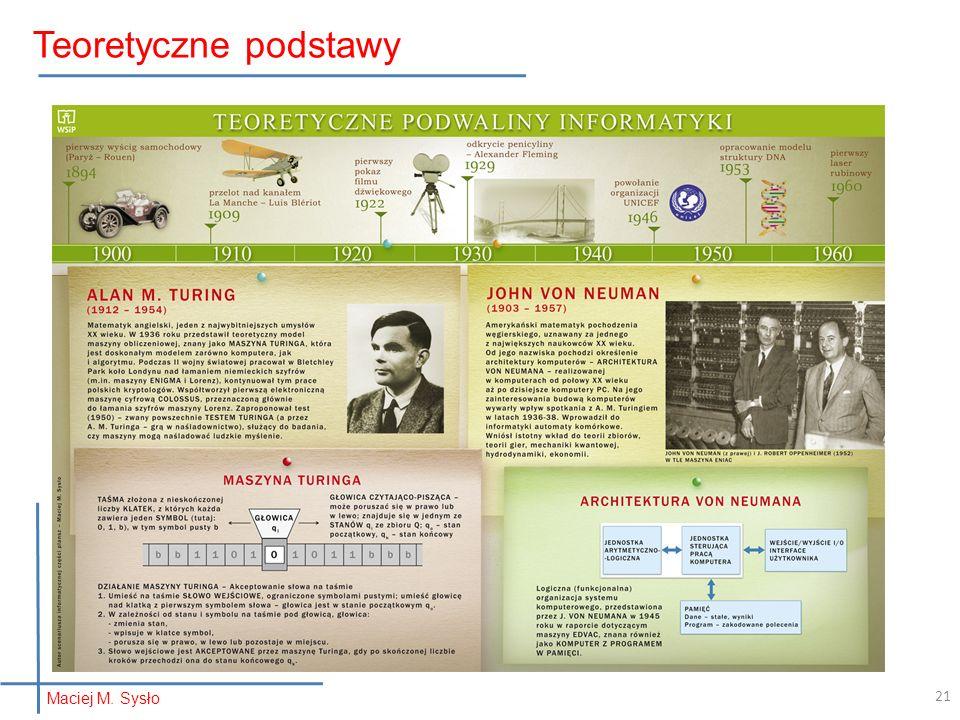 Teoretyczne podstawy 21 Maciej M. Sysło