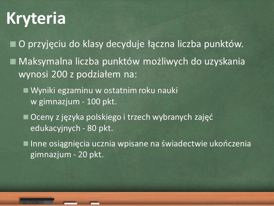 Kryteria  O przyjęciu do klasy decyduje łączna liczba punktów.