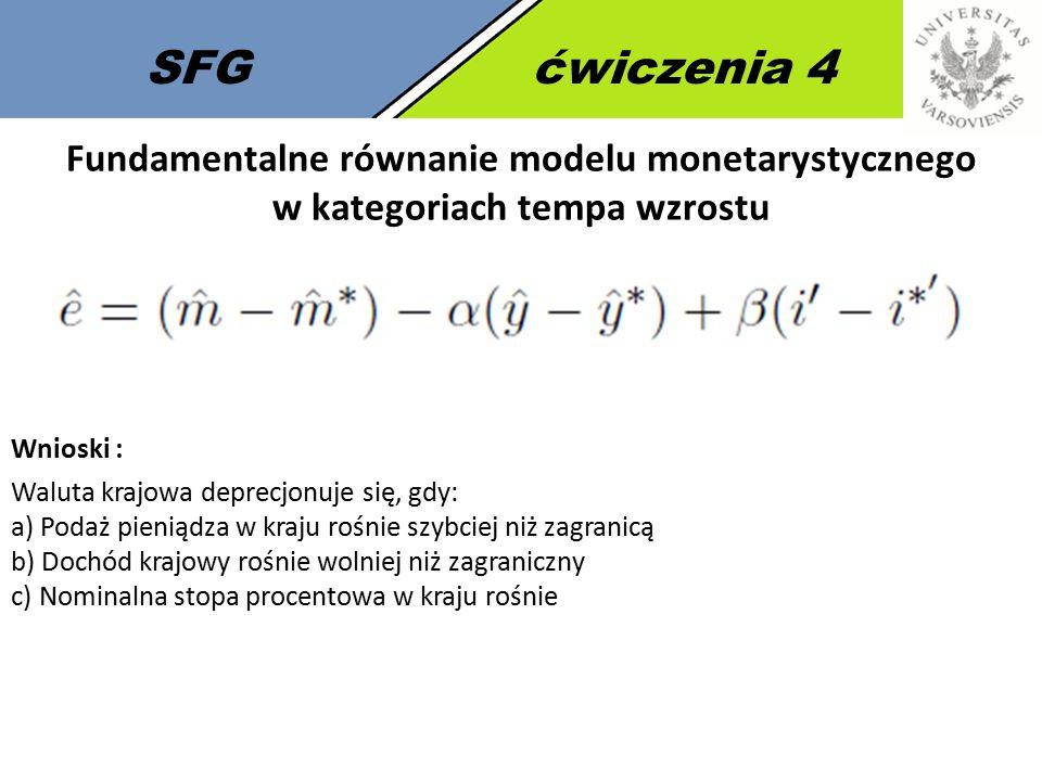 SFGćwiczenia 4 Fundamentalne równanie modelu monetarystycznego w kategoriach tempa wzrostu Wnioski : Waluta krajowa deprecjonuje się, gdy: a) Podaż pi