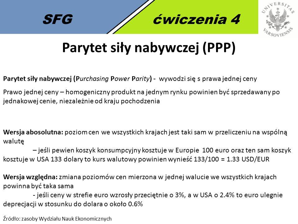 SFGćwiczenia 4 Parytet siły nabywczej (PPP) Parytet siły nabywczej (Purchasing Power Parity) - wywodzi się s prawa jednej ceny Prawo jednej ceny – hom
