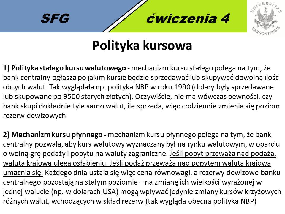 SFGćwiczenia 4 Polityka kursowa 1) Polityka stałego kursu walutowego - mechanizm kursu stałego polega na tym, że bank centralny ogłasza po jakim kursi