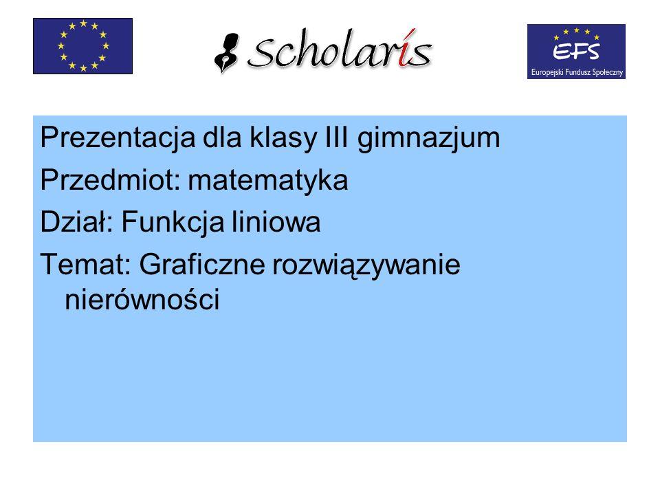 Prezentacja dla klasy III gimnazjum Przedmiot: matematyka Dział: Funkcja liniowa Temat: Graficzne rozwiązywanie nierówności
