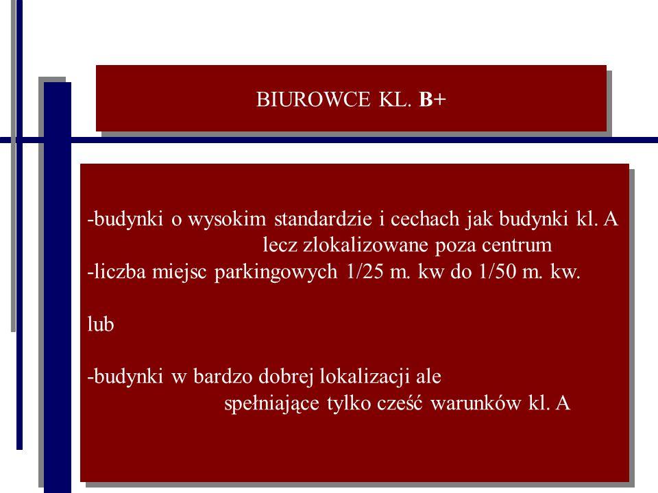 BIUROWCE KL. B+ -budynki o wysokim standardzie i cechach jak budynki kl.