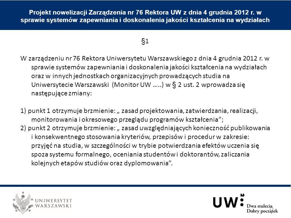 Projekt nowelizacji Zarządzenia nr 76 Rektora UW z dnia 4 grudnia 2012 r. w sprawie systemów zapewniania i doskonalenia jakości kształcenia na wydział