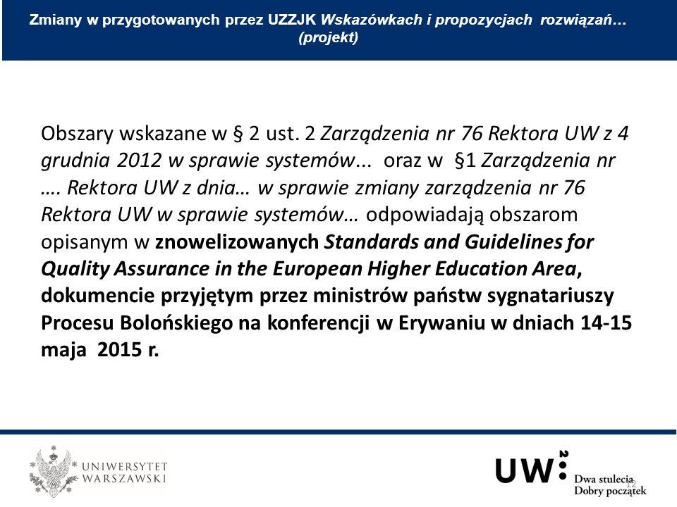 Obszary wskazane w § 2 ust. 2 Zarządzenia nr 76 Rektora UW z 4 grudnia 2012 w sprawie systemów... oraz w §1 Zarządzenia nr …. Rektora UW z dnia… w spr