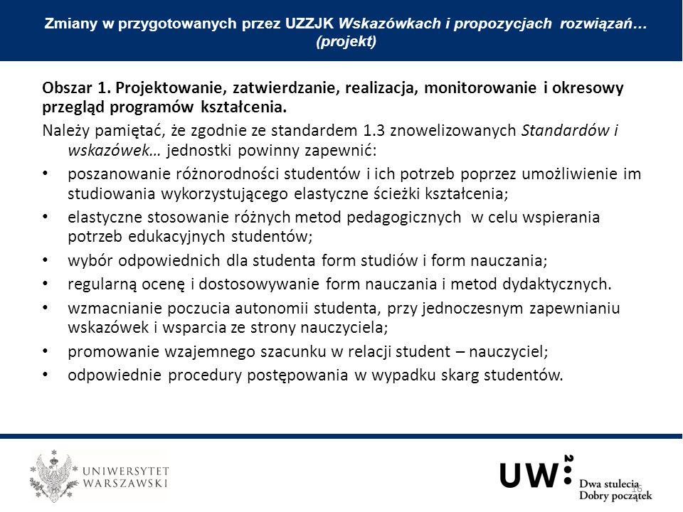 Obszar 1. Projektowanie, zatwierdzanie, realizacja, monitorowanie i okresowy przegląd programów kształcenia. Należy pamiętać, że zgodnie ze standardem