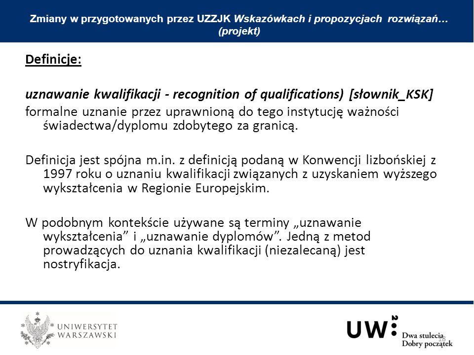Definicje: uznawanie kwalifikacji - recognition of qualifications) [słownik_KSK] formalne uznanie przez uprawnioną do tego instytucję ważności świadectwa/dyplomu zdobytego za granicą.