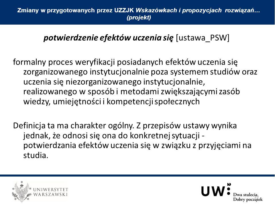 potwierdzenie efektów uczenia się [ustawa_PSW] formalny proces weryfikacji posiadanych efektów uczenia się zorganizowanego instytucjonalnie poza syste