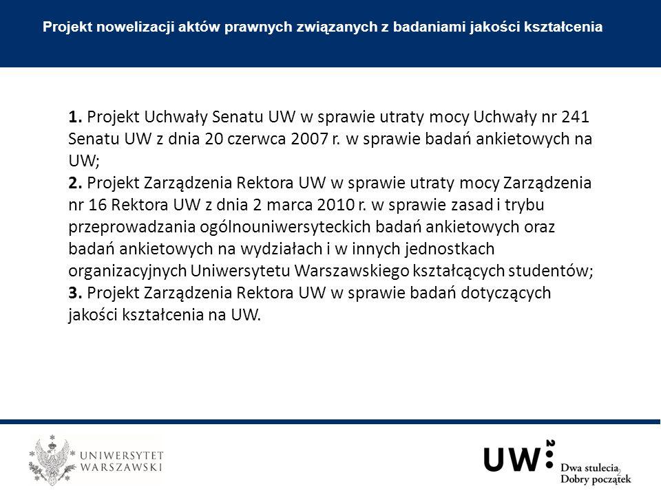Projekt nowelizacji aktów prawnych związanych z badaniami jakości kształcenia 1.