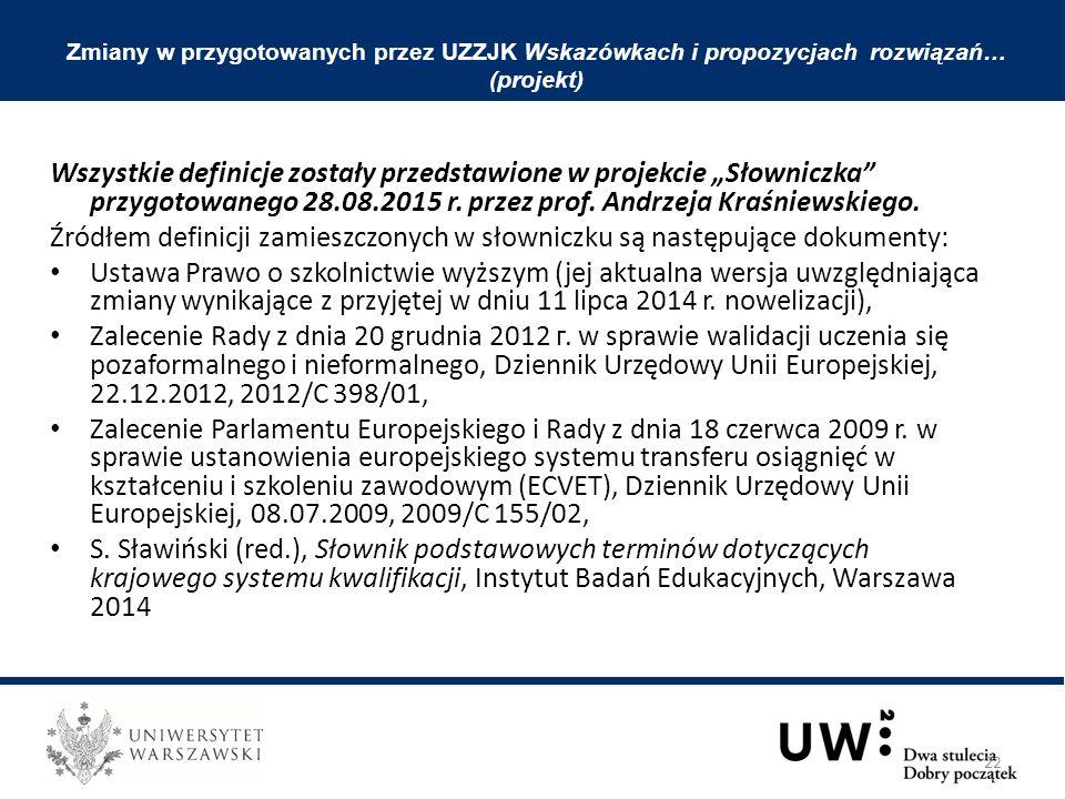 """Wszystkie definicje zostały przedstawione w projekcie """"Słowniczka"""" przygotowanego 28.08.2015 r. przez prof. Andrzeja Kraśniewskiego. Źródłem definicji"""