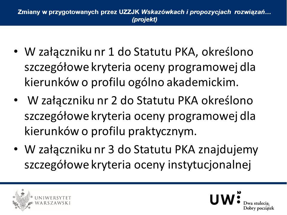 W załączniku nr 1 do Statutu PKA, określono szczegółowe kryteria oceny programowej dla kierunków o profilu ogólno akademickim. W załączniku nr 2 do St