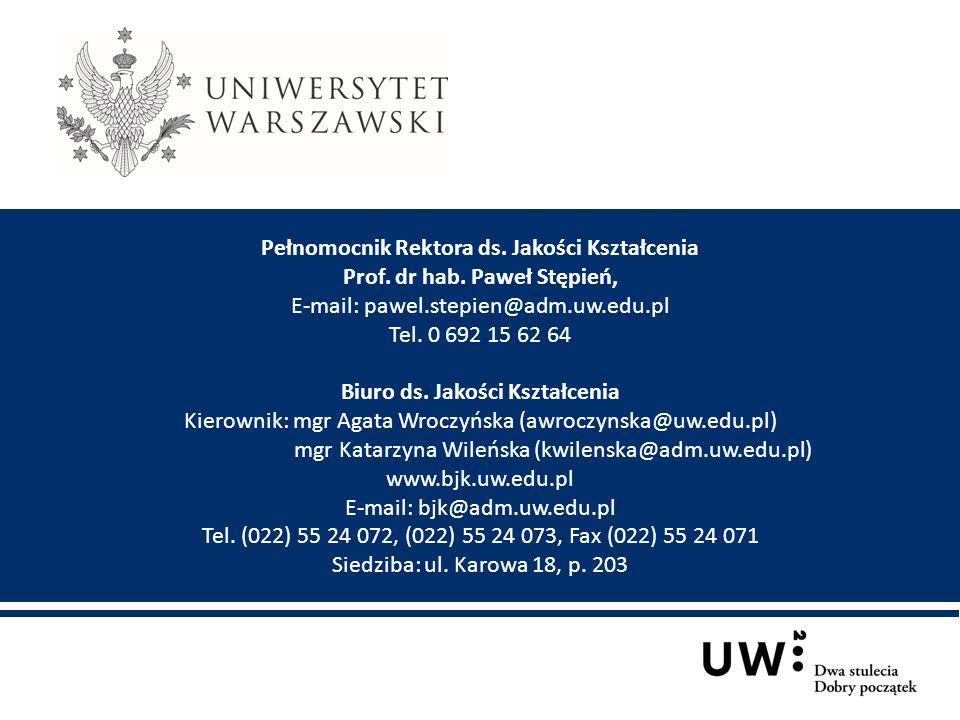 Pełnomocnik Rektora ds. Jakości Kształcenia Prof. dr hab. Paweł Stępień, E-mail: pawel.stepien@adm.uw.edu.pl Tel. 0 692 15 62 64 Biuro ds. Jakości Ksz