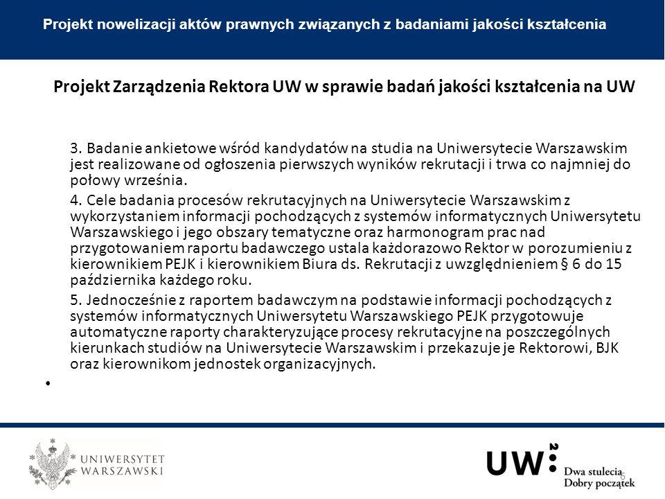 3. Badanie ankietowe wśród kandydatów na studia na Uniwersytecie Warszawskim jest realizowane od ogłoszenia pierwszych wyników rekrutacji i trwa co na