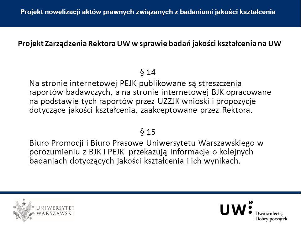 § 14 Na stronie internetowej PEJK publikowane są streszczenia raportów badawczych, a na stronie internetowej BJK opracowane na podstawie tych raportów przez UZZJK wnioski i propozycje dotyczące jakości kształcenia, zaakceptowane przez Rektora.