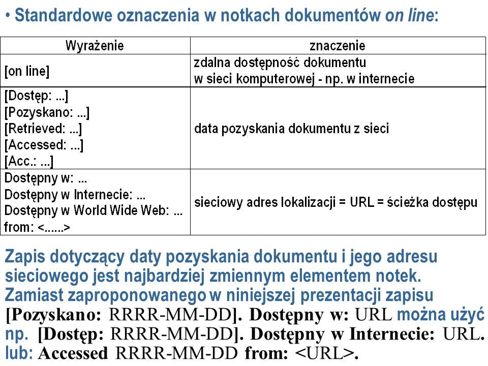 Standardowe oznaczenia w notkach dokumentów on line : Zapis dotyczący daty pozyskania dokumentu i jego adresu sieciowego jest najbardziej zmiennym elementem notek.