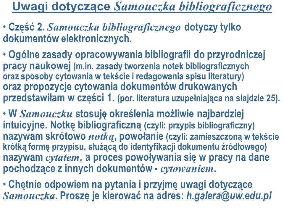 Uwagi dotyczące Samouczka bibliograficznego Część 2.