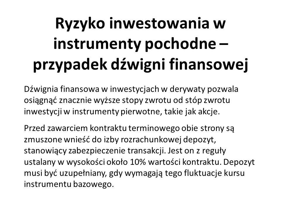 Ryzyko inwestowania w instrumenty pochodne – przypadek dźwigni finansowej Dźwignia finansowa w inwestycjach w derywaty pozwala osiągnąć znacznie wyższ