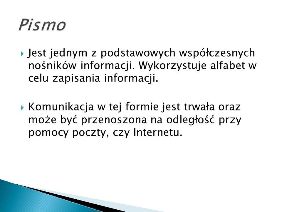  Jest jednym z podstawowych współczesnych nośników informacji.