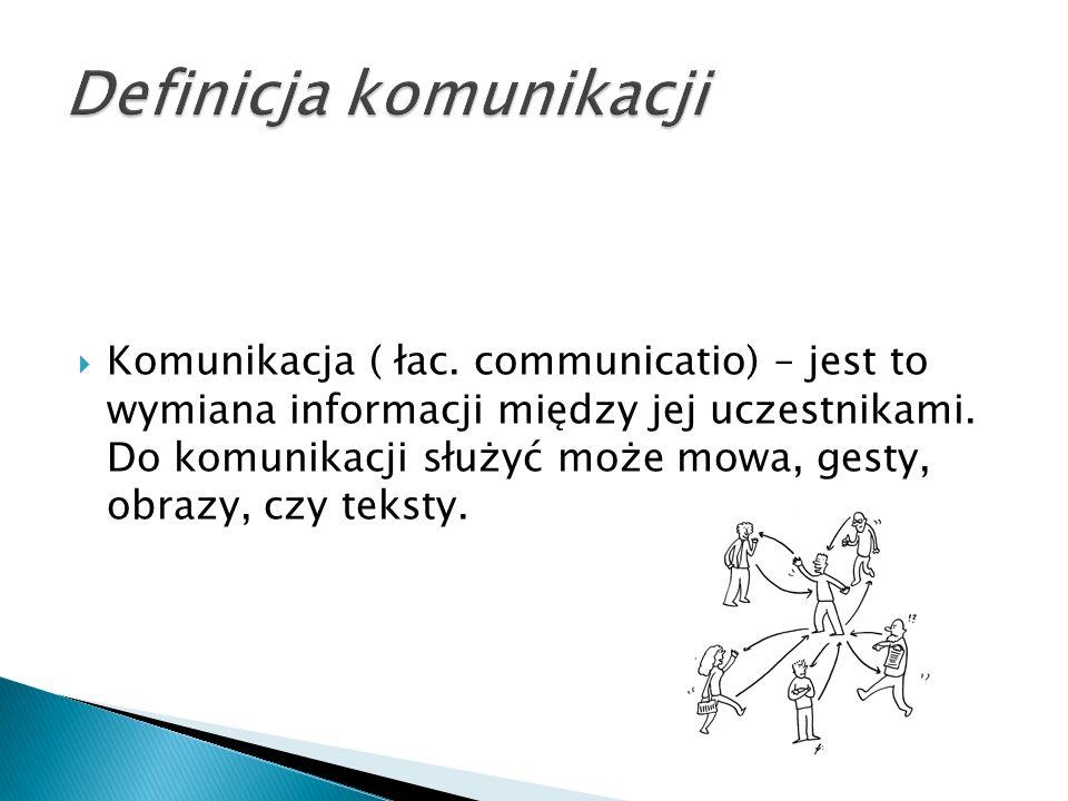  Komunikacja ( łac. communicatio) – jest to wymiana informacji między jej uczestnikami.