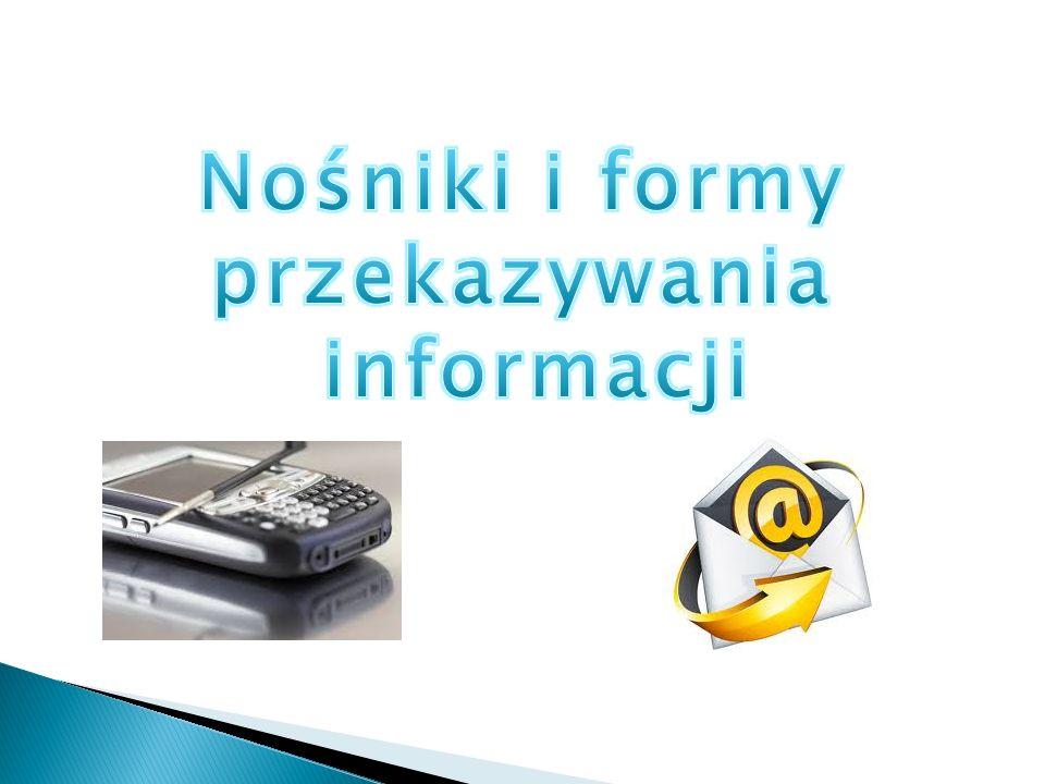  Informacje w tej formie są przekazywane przy pomocy słów mówionych na głos lub określonych sygnałów dźwiękowych ( np.