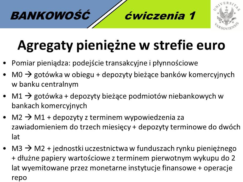 BANKOWOŚĆćwiczenia 1 Agregaty pieniężne w strefie euro Pomiar pieniądza: podejście transakcyjne i płynnościowe M0  gotówka w obiegu + depozyty bieżąc