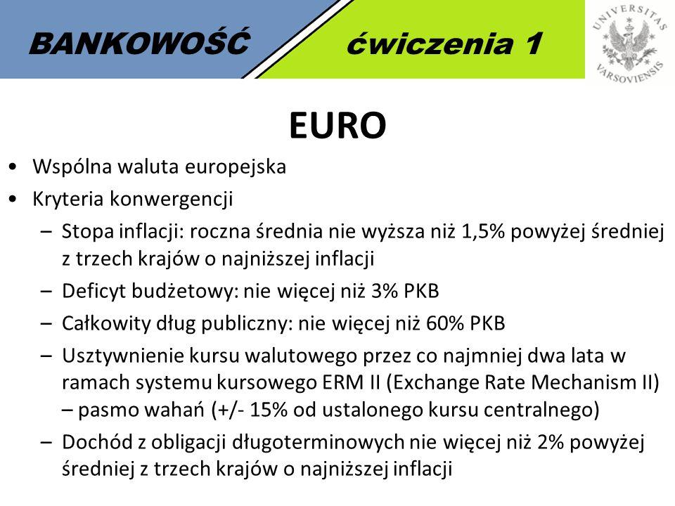 BANKOWOŚĆćwiczenia 1 EURO Wspólna waluta europejska Kryteria konwergencji –Stopa inflacji: roczna średnia nie wyższa niż 1,5% powyżej średniej z trzec
