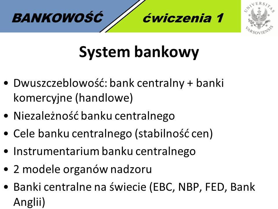 2 BANKOWOŚĆćwiczenia 1 System bankowy Dwuszczeblowość: bank centralny + banki komercyjne (handlowe) Niezależność banku centralnego Cele banku centraln