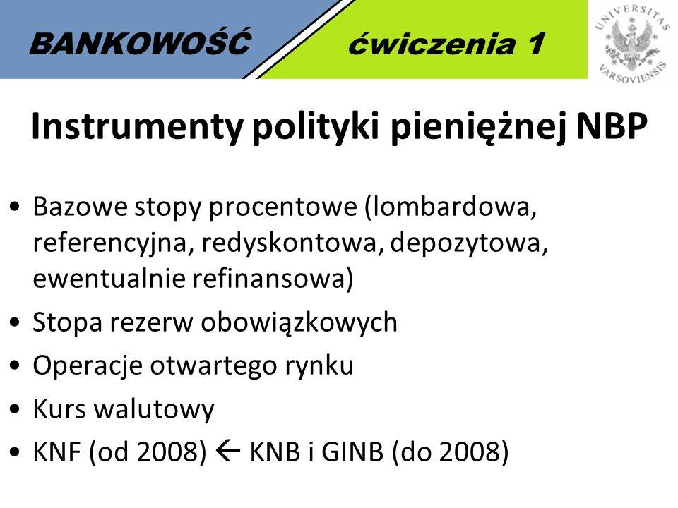 7 BANKOWOŚĆćwiczenia 1 Instrumenty polityki pieniężnej NBP Bazowe stopy procentowe (lombardowa, referencyjna, redyskontowa, depozytowa, ewentualnie re