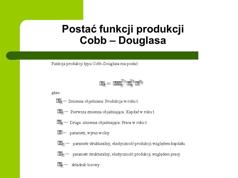 Postać funkcji produkcji Cobb – Douglasa
