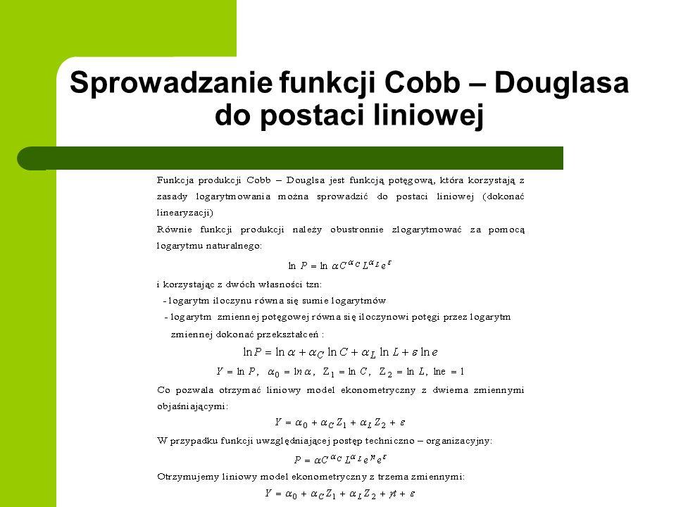 Sprowadzanie funkcji Cobb – Douglasa do postaci liniowej