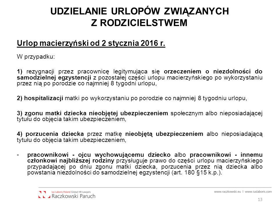 UDZIELANIE URLOPÓW ZWIĄZANYCH Z RODZICIELSTWEM Urlop macierzyński od 2 stycznia 2016 r.