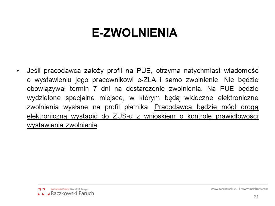 E-ZWOLNIENIA Jeśli pracodawca założy profil na PUE, otrzyma natychmiast wiadomość o wystawieniu jego pracownikowi e-ZLA i samo zwolnienie.