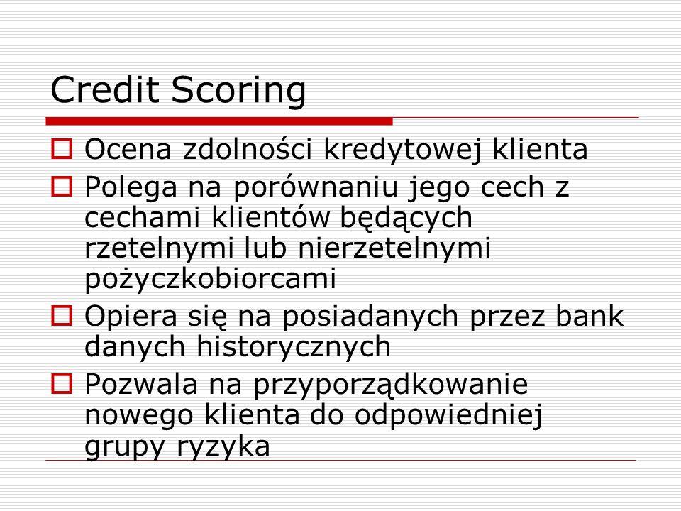 Credit Scoring  Ocena zdolności kredytowej klienta  Polega na porównaniu jego cech z cechami klientów będących rzetelnymi lub nierzetelnymi pożyczko