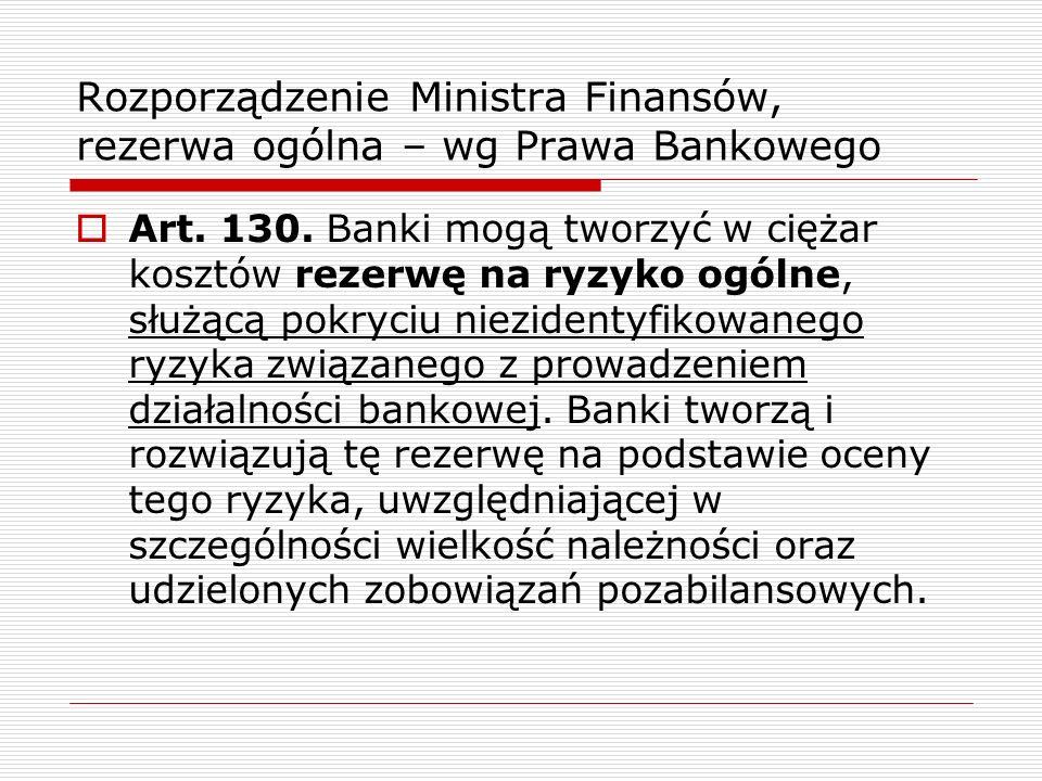 Rozporządzenie Ministra Finansów, rezerwa ogólna – wg Prawa Bankowego  Art. 130. Banki mogą tworzyć w ciężar kosztów rezerwę na ryzyko ogólne, służąc
