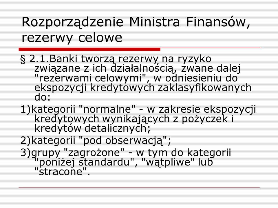Rozporządzenie Ministra Finansów, rezerwy celowe § 2.1.Banki tworzą rezerwy na ryzyko związane z ich działalnością, zwane dalej