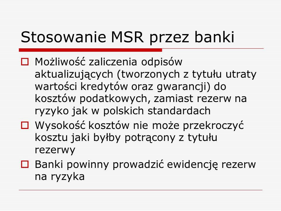 Stosowanie MSR przez banki  Możliwość zaliczenia odpisów aktualizujących (tworzonych z tytułu utraty wartości kredytów oraz gwarancji) do kosztów pod