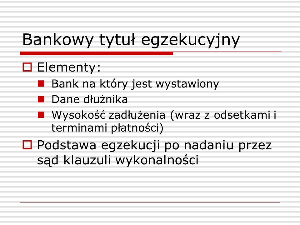 Bankowy tytuł egzekucyjny  Elementy: Bank na który jest wystawiony Dane dłużnika Wysokość zadłużenia (wraz z odsetkami i terminami płatności)  Podst