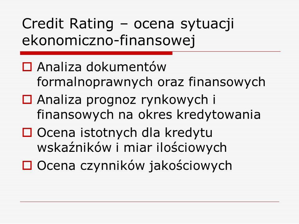 Credit Rating – ocena sytuacji ekonomiczno-finansowej  Analiza dokumentów formalnoprawnych oraz finansowych  Analiza prognoz rynkowych i finansowych