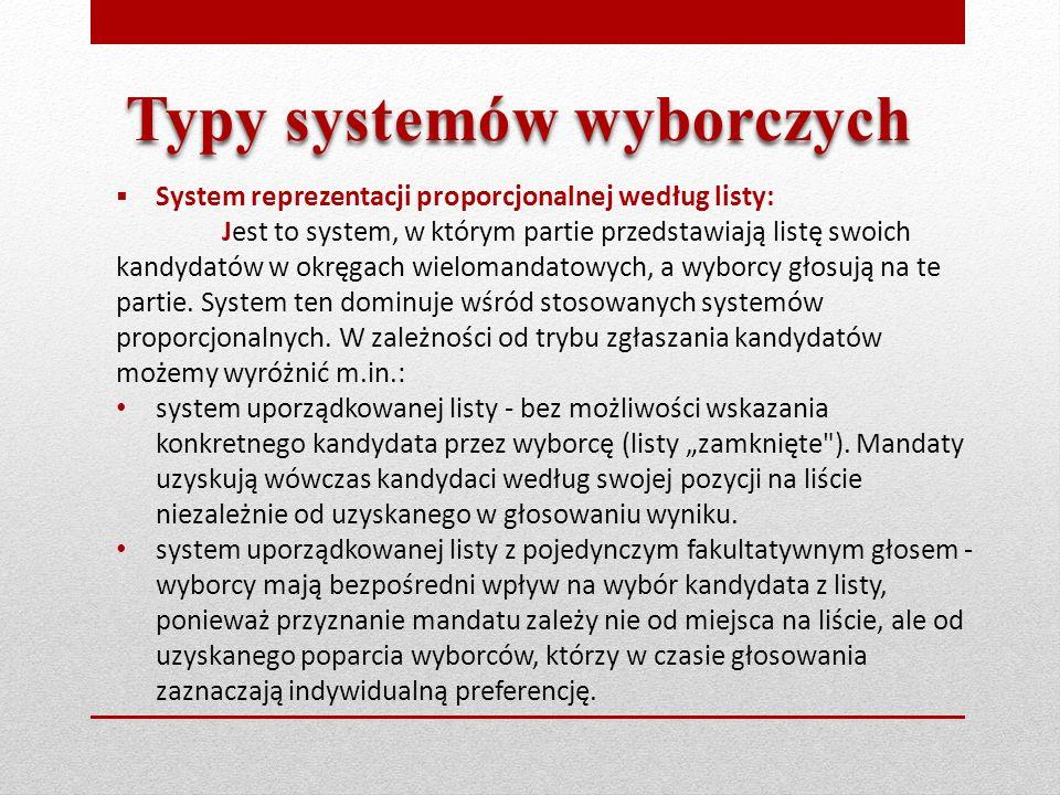  System reprezentacji proporcjonalnej według listy: Jest to system, w którym partie przedstawiają listę swoich kandydatów w okręgach wielomandatowych, a wyborcy głosują na te partie.