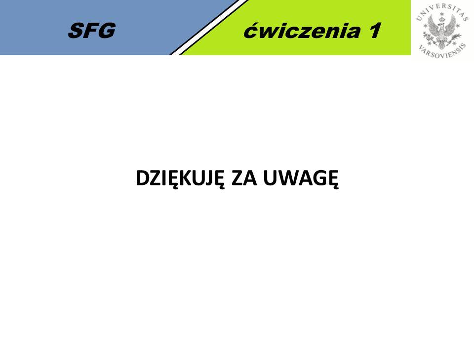 7 SFGćwiczenia 1 DZIĘKUJĘ ZA UWAGĘ