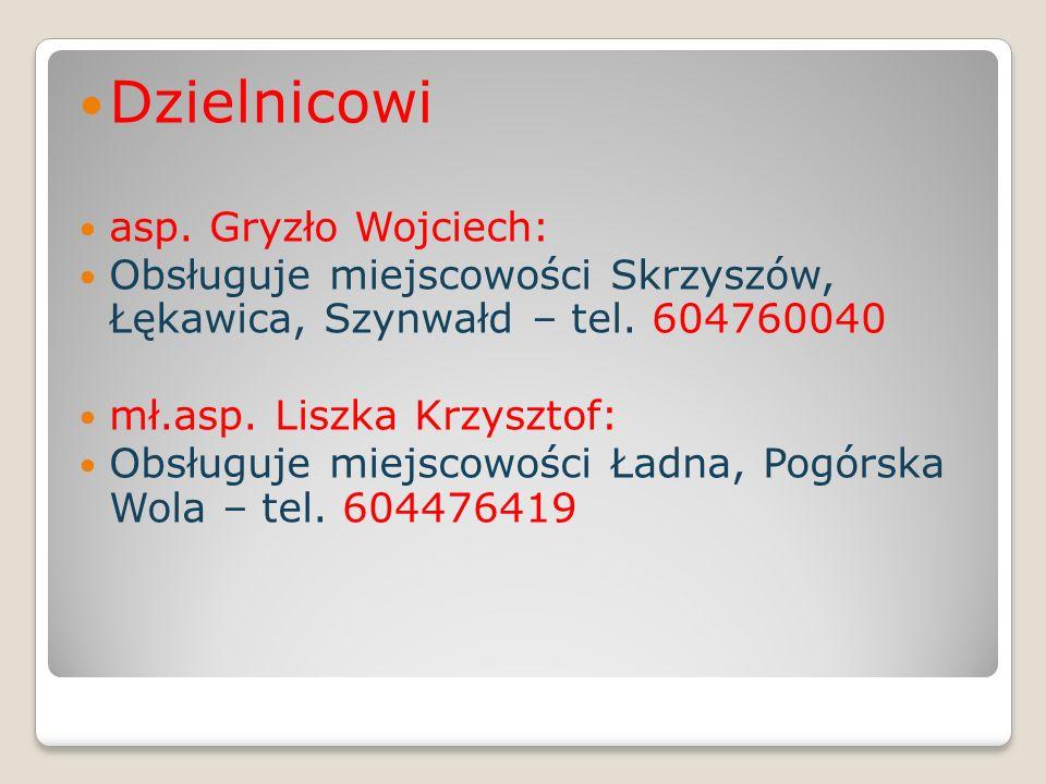 Dzielnicowi asp. Gryzło Wojciech: Obsługuje miejscowości Skrzyszów, Łękawica, Szynwałd – tel. 604760040 mł.asp. Liszka Krzysztof: Obsługuje miejscowoś