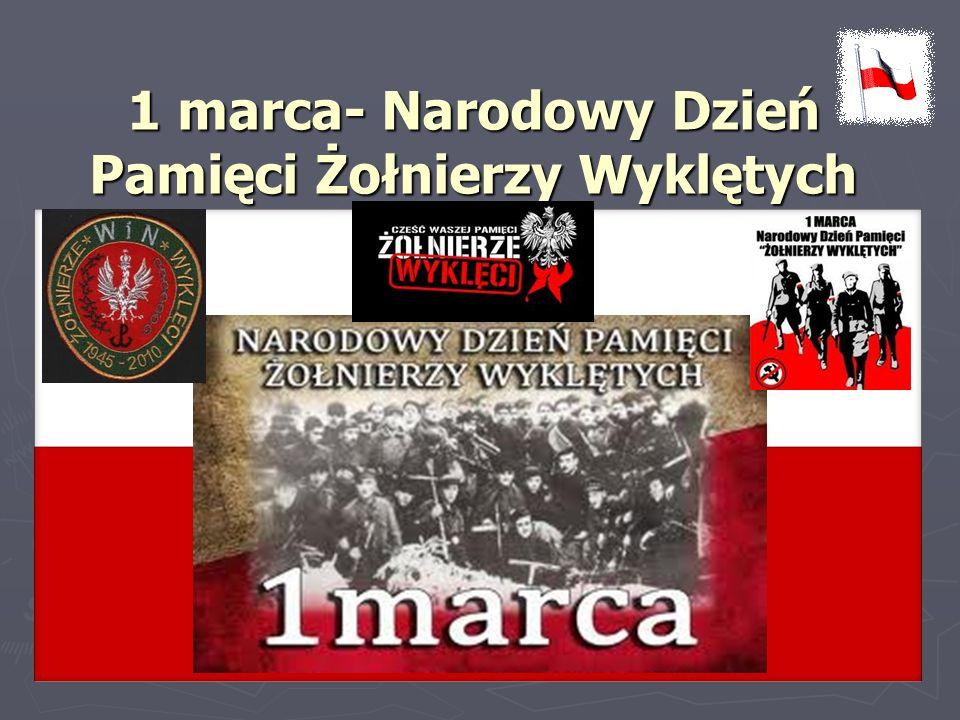 Żołnierze wyklęci – określenie żołnierzy podziemia niepodległościowego i antykomunistycznego, stawiających opór próbie sowietyzacji Polski Żołnierze wyklęci – określenie żołnierzy podziemia niepodległościowego i antykomunistycznego, stawiających opór próbie sowietyzacji Polski i podporządkowania jej ZSRR i podporządkowania jej ZSRR w latach 40 i 50 XX wieku.