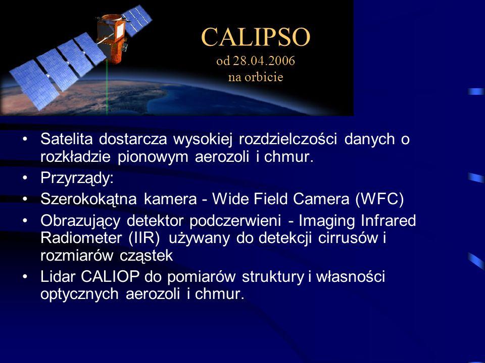 Satelita dostarcza wysokiej rozdzielczości danych o rozkładzie pionowym aerozoli i chmur.
