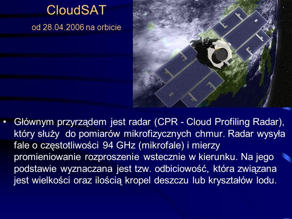 CloudSAT od 28.04.2006 na orbicie Głównym przyrządem jest radar (CPR - Cloud Profiling Radar), który służy do pomiarów mikrofizycznych chmur.