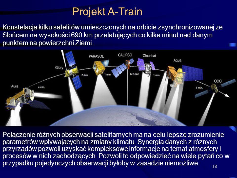 18 Projekt A-Train Konstelacja kilku satelitów umieszczonych na orbicie zsynchronizowanej ze Słońcem na wysokości 690 km przelatujących co kilka minut nad danym punktem na powierzchni Ziemi.