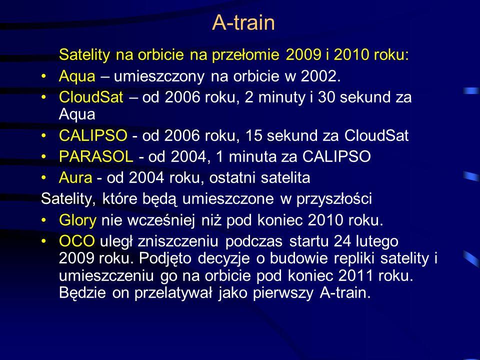 A-train Satelity na orbicie na przełomie 2009 i 2010 roku: Aqua – umieszczony na orbicie w 2002.