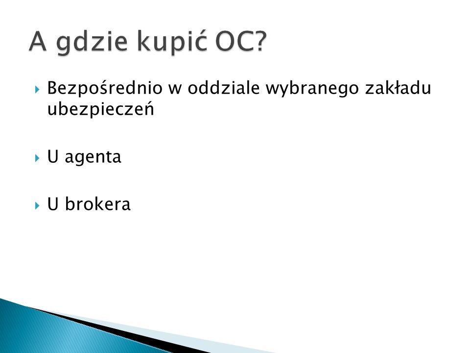 Bezpośrednio w oddziale wybranego zakładu ubezpieczeń  U agenta  U brokera