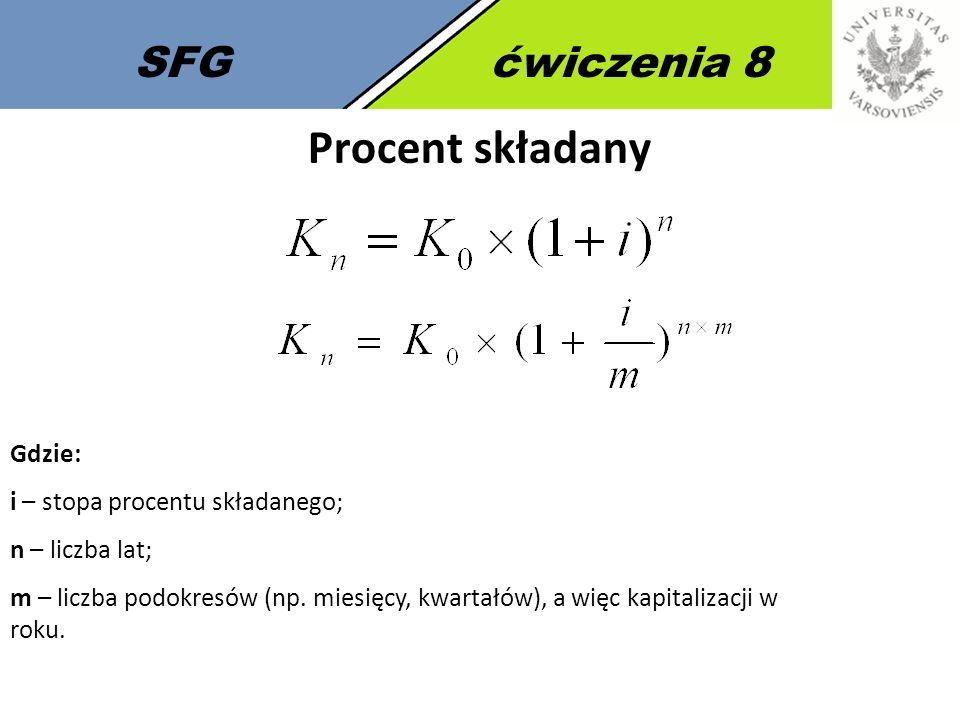 SFGćwiczenia 8 Procent składany Gdzie: i – stopa procentu składanego; n – liczba lat; m – liczba podokresów (np. miesięcy, kwartałów), a więc kapitali